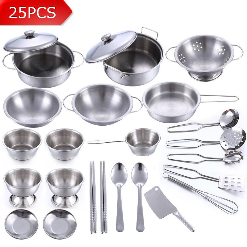 Wholesale- 25Pcs Stainless Steel Children Kitchen Toys Miniature Cooking Set Simulation Tableware Toy Pretend Play Cook Toy for Kids Gift