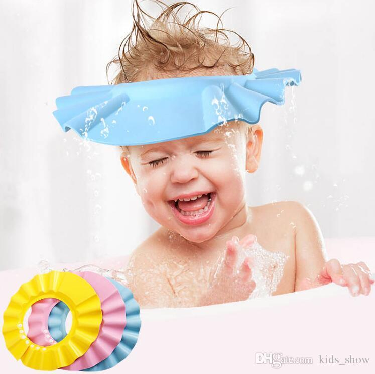 Kids Baby Child Shower Bath Hat Cap Adjustable Soft Waterproof Shield Shampoo