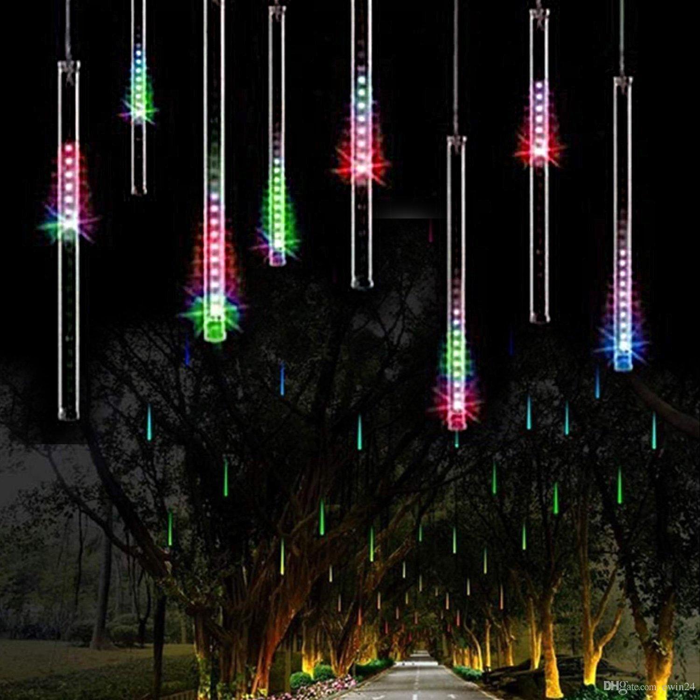 Led Outdoor Christmas Lights.30cm 144led Meteor Shower Rain Tube Led Christmas Light Wedding Party Garden Xmas String Light Outdoor Holiday Lighting Clear String Lights Cool