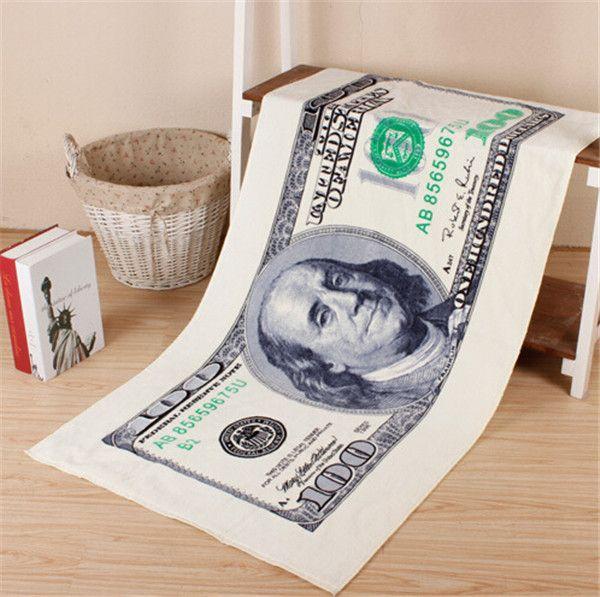 clássicos personalidade fibra superfina criativo padrão dólar absorvente toalha de banho toalha de praia transporte livre adulto toalha