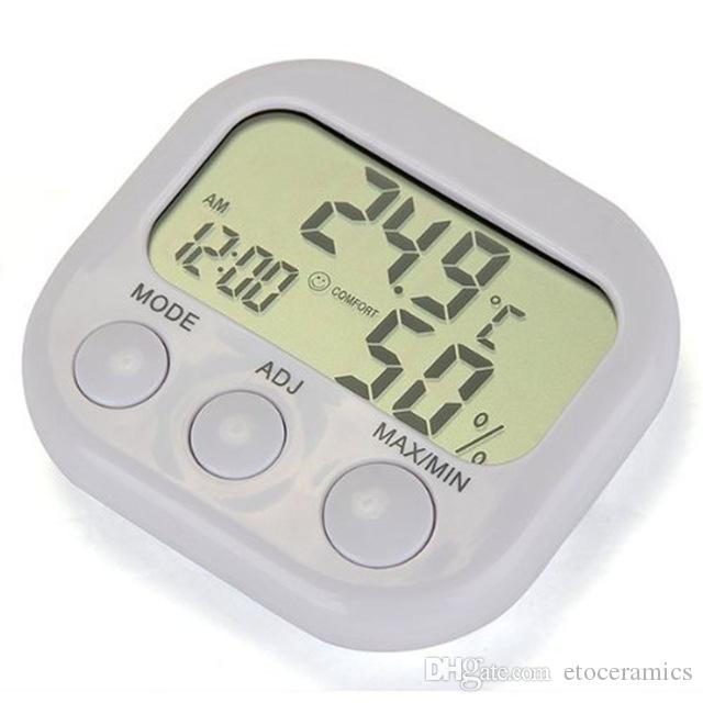 Nueva estación meteorológica LCD Termómetro digital Higrómetro Temperatura Humedad Medidor Medidor con reloj H210815