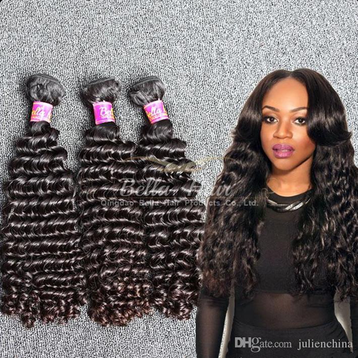 Bella Hair® Partihandel 10st / Lot 9A Brasilianska tillägg 10-24 tum Naturfärg Mänskligt hår Vävde djupvåg