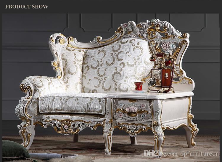 Baroque living room sofa furniture- European Classic one person chair with table -Italian luxury classic sofa set