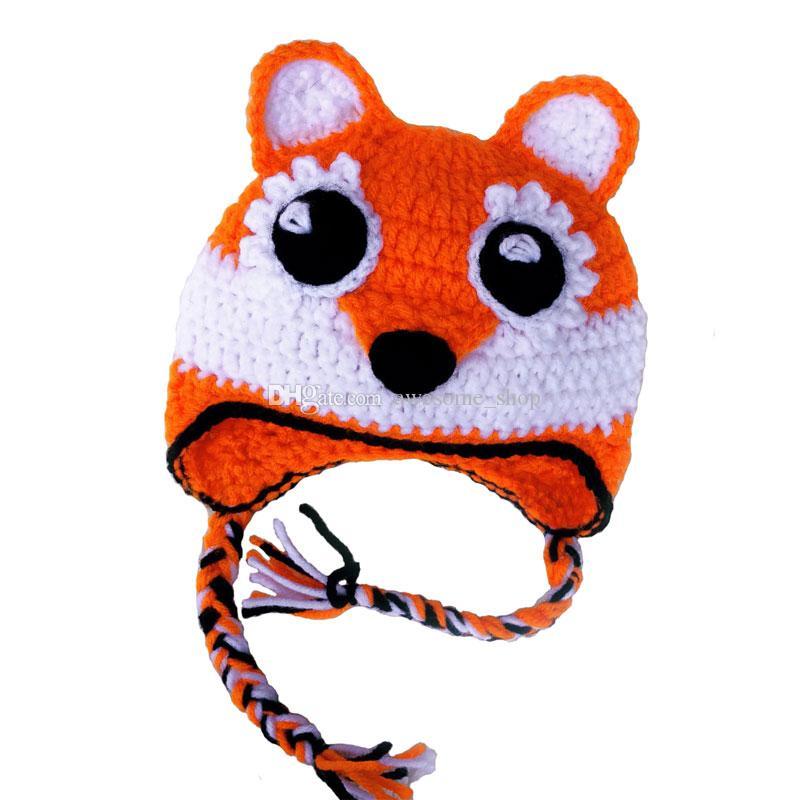 Adorable Baby Fox Hat,Handmade Crochet Baby Boy Girl Animal Hat,Kids Earflap Winter Cap,Infant Newborn Photo Prop