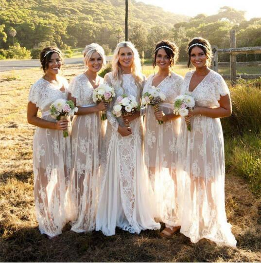 2019 New Summer Bohemian White Sheer Lace Bridesmaid Dresses V Neck Short Sleeves Plus Size Boho Wedding Dresses Custom Made
