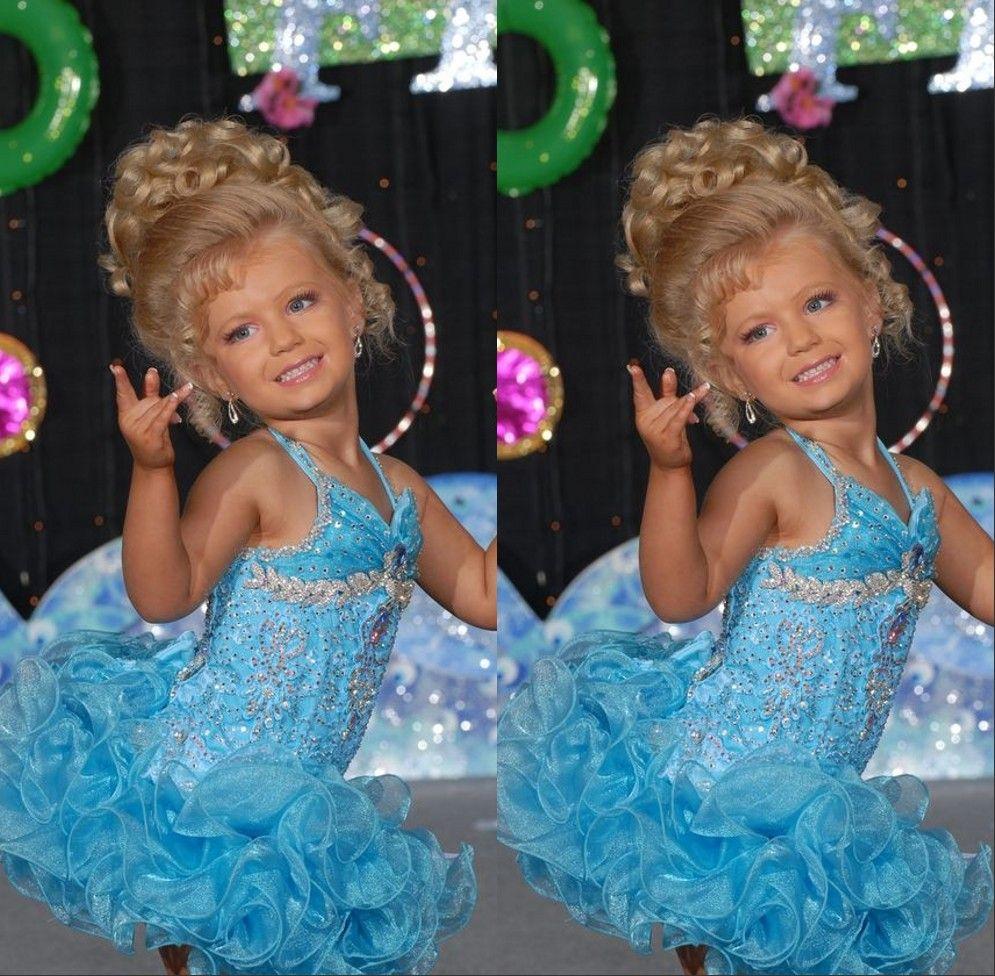 Lichte hemel blauwe korte glitz kleine baby meisje Pageant jurken voor tieners met halter kristal peuter kinderen ritzee meisje cupcake baljurken