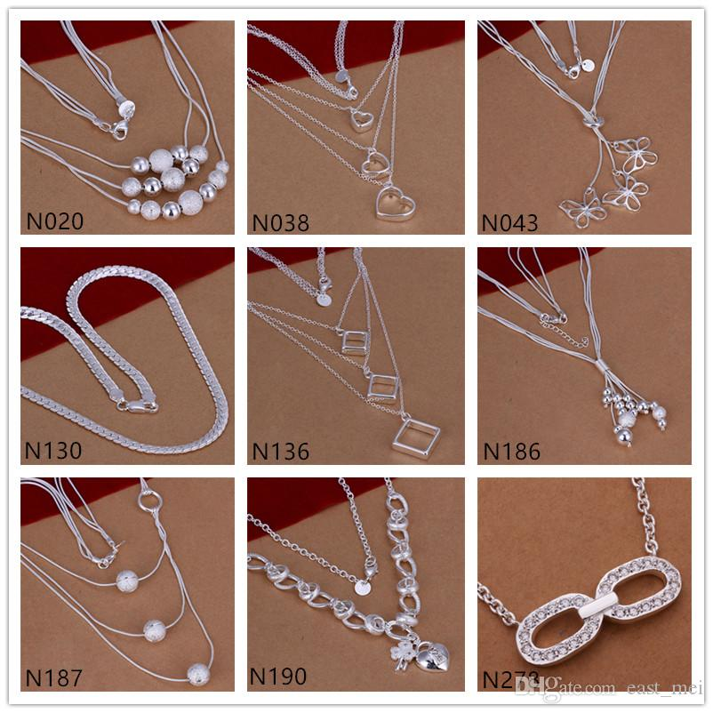 Butterfly square shape 925 silver Necklace 6 pieces a lot mixed style,burst models women's gemstone sterling silver Necklace EMP49