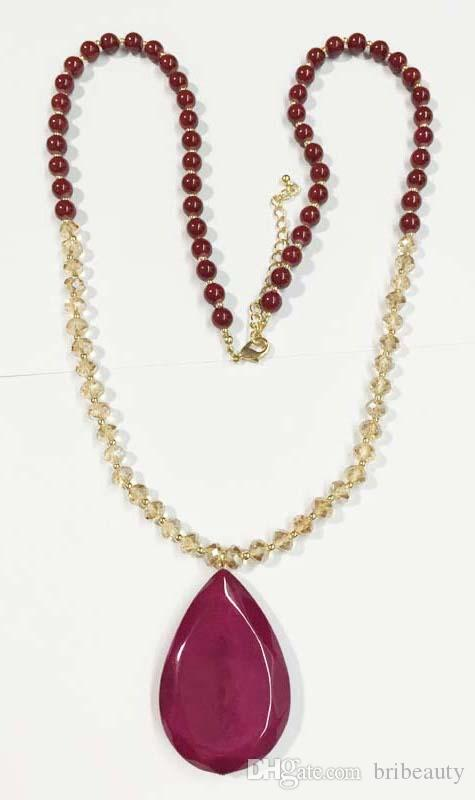 Nouveau collier de perles de perles de verre à facettes avec une grande goutte de résine goutte de pierre bourgogne grand collier pendentif goutte de goutte collier de perles opale
