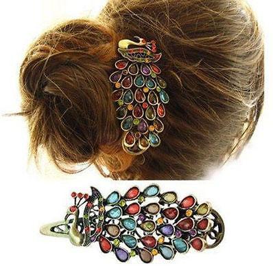 أزياء السيدات خمر ملون حجر الراين الطاووس باريت دبوس الشعر دبوس الشعر كليب المملكة المتحدة # R48