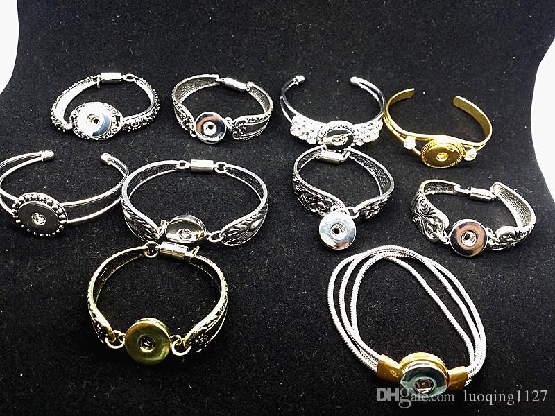 gli stili all'ingrosso della miscela 10pcs retro argento zenzero delle donne 18mm bottoni a pressione polsini del braccialetto dei braccialetti di fascino del polsino