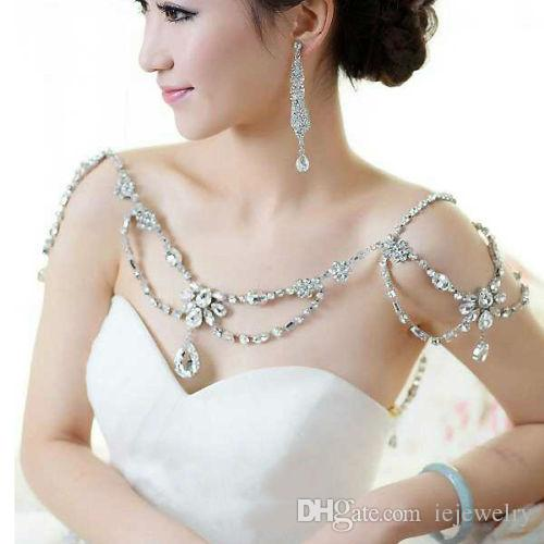 Pełna Łańcuch Łańcuch Biżuteria Kryształ Rhinestone Tassel Ramię Łańcuch Naszyjnik Zestaw Biżuterii Szal Wrap Cape Wedding Bride Sukienka Akcesoria