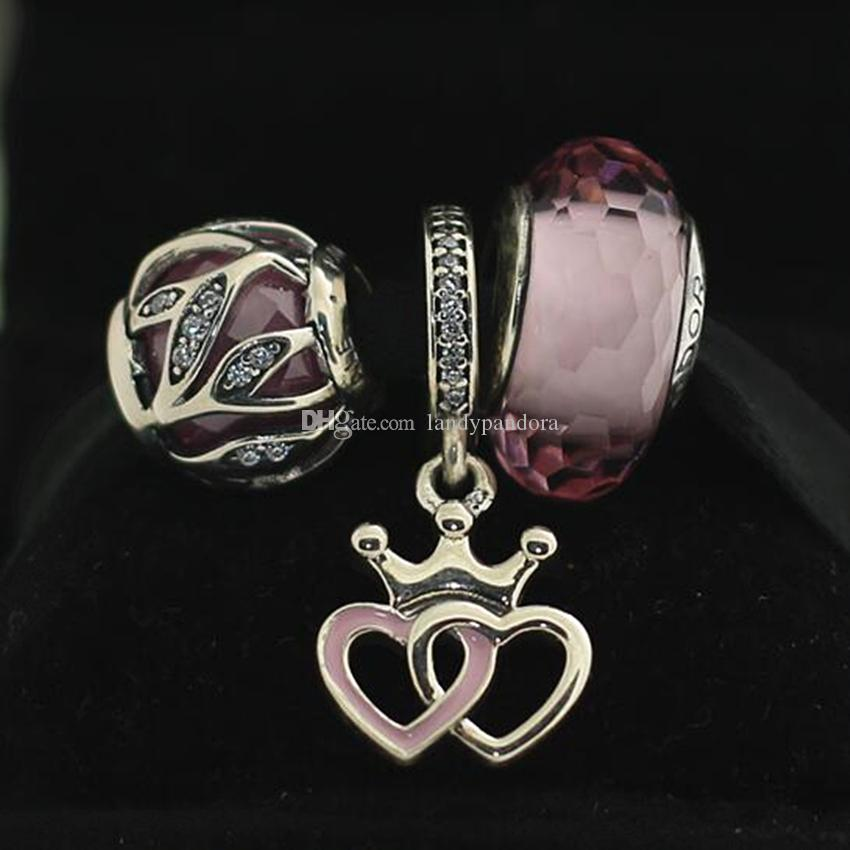 Authentic 925 Sterling Silver Crowned Hearts Charm& Murano Glass Bead Fits European Pandora Charm Bracelets &Necklaces