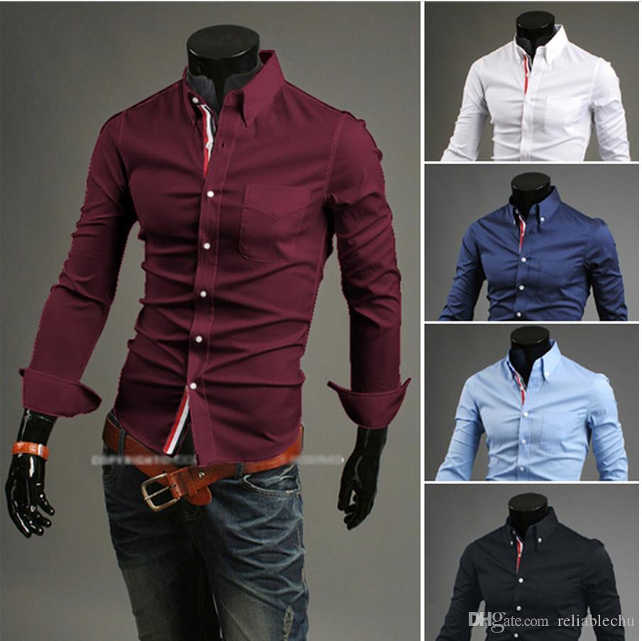 Single Breasted Dress Shirt Of Men Patch Colorful Striped Braid Long Sleeve Turn Down Sleeve Design Mens Business Shirt Free Shipping