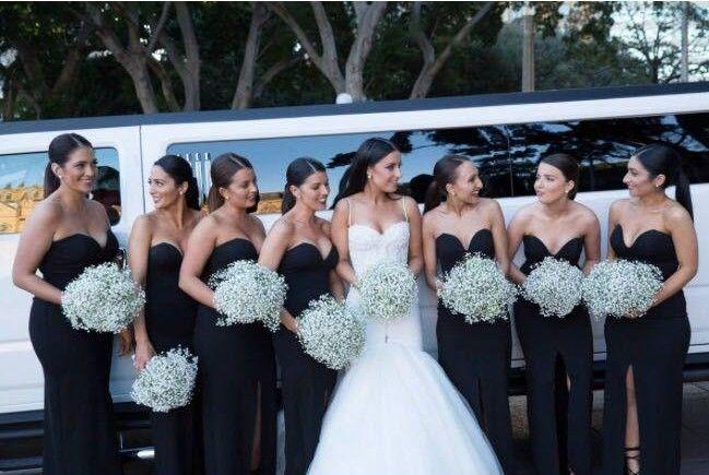 Black Long Bridesmaid Dresses 2019 Mermaid Sweetheart Backless Simple Cheap Sexy High Slit Long Formal Dresses Maid Of Honors Cheap