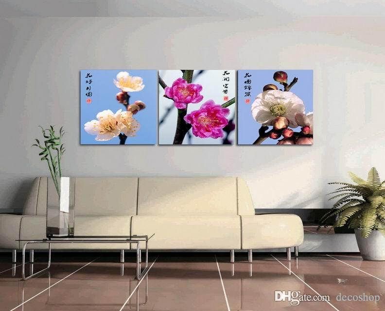 Plum Blossom Flower Wintersweet Painting Giclee Print On Canvas Home Decor Wall Art Set30388