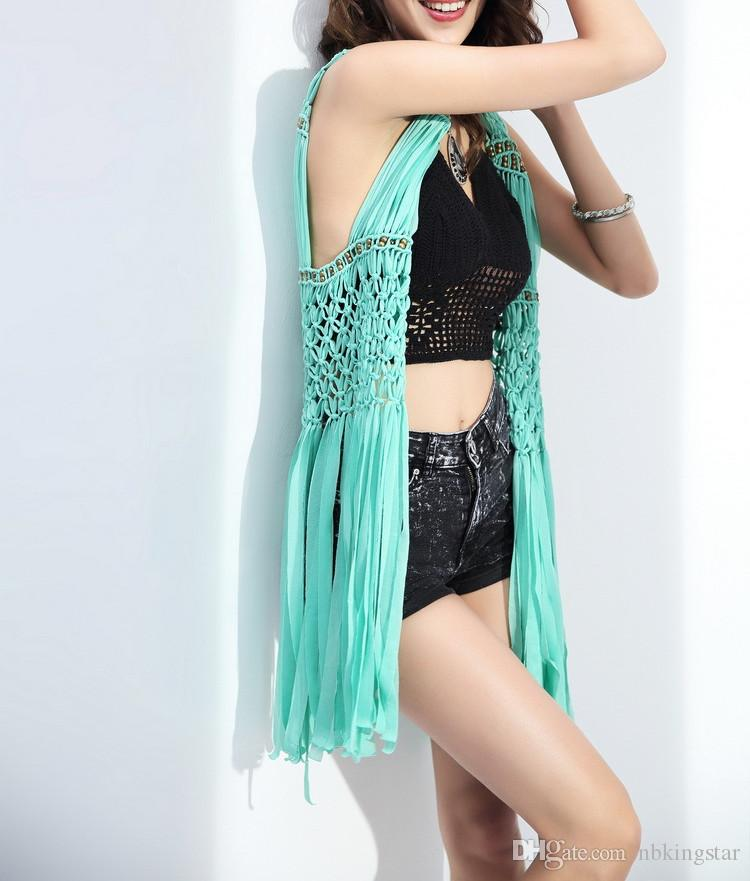 New Summer Sexy Women Cotton Hollow Knitted Vest Ladies Long Coat Solid Tassel Sleeveless Beach Jacket for women