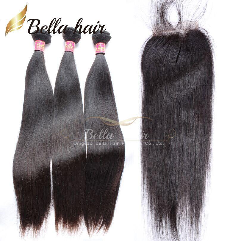 Peruwiańskie Włosiane Wiązki Dziewiczy Ludzki Przedłużanie Włosów Proste Włosy Uwagi 3 sztuk Z Zamknięciem Darmowa część Natural Color Bellahair 8A