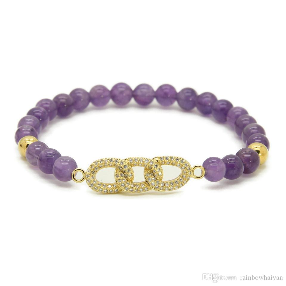 Wholesale New Mens Jewelry Wholesale 6mm Natural Amethyst Stone Beads Micro Pave Zircon Cz Beads Chain Beaded Bracelets