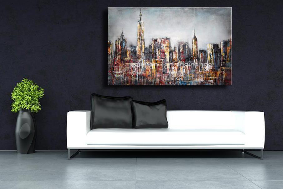 Pintado a mano lienzo pintura del paisaje urbano Arte Edificio en la pared del sofá o la decoración de la pared de TV 1pc No Frame