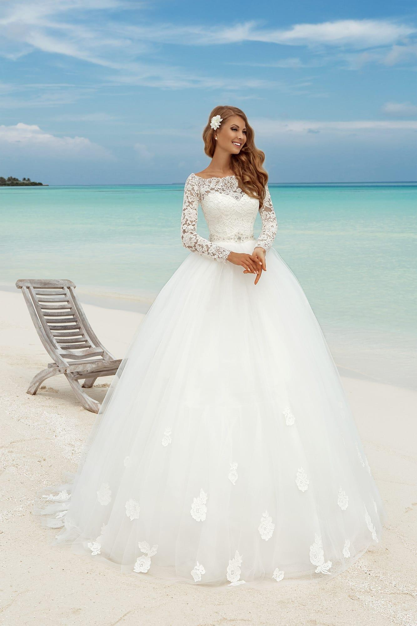Discount Long Sleeves Wedding Dresses 2016 Lace Tulle Ball Gowns ...