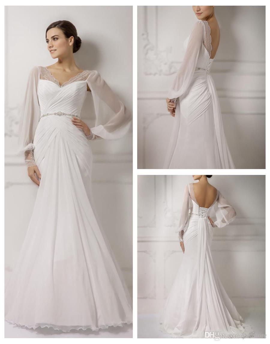 2016 Criss Cross Silk Chiffon Mermaid Wedding Gowns Vintage Illusion Long Sleeve Bridal Draped Skirts Lace Dresses 2018 From Yaostore