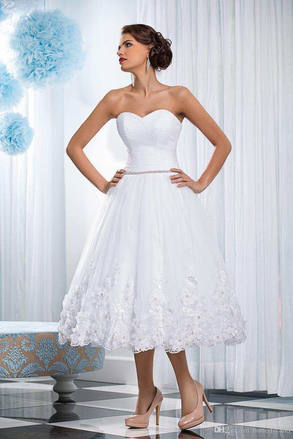 white short wedding dresses new sweetheart lace flower pleaded beaded belt puffy wedding dress plus size