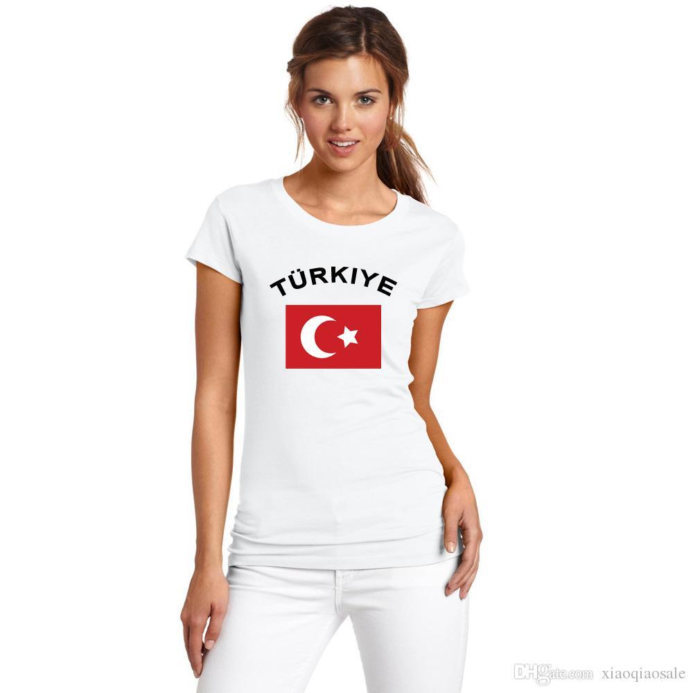 Турция футбол женщины болельщики развеселить футболка Кубок Европы мода O-образным вырезом белый цвет национальный флаг футбол спортивные футболки для женщин