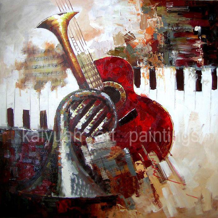 Résumé peint à la main Peintures pour la maison Décoration murale en Salon ou Chambre Beauté Guitare Art Peintures No Frame