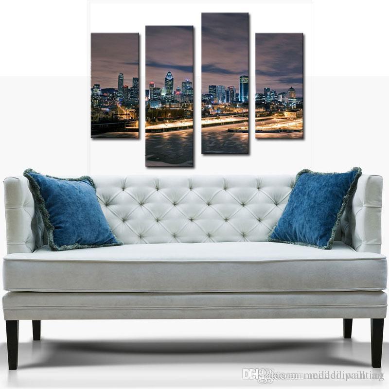 도시 풍경 그림 벽 예술 시내 스카이 라인 건물 밤 4 패널 그림 현대 집 장식을위한 캔버스에 인쇄
