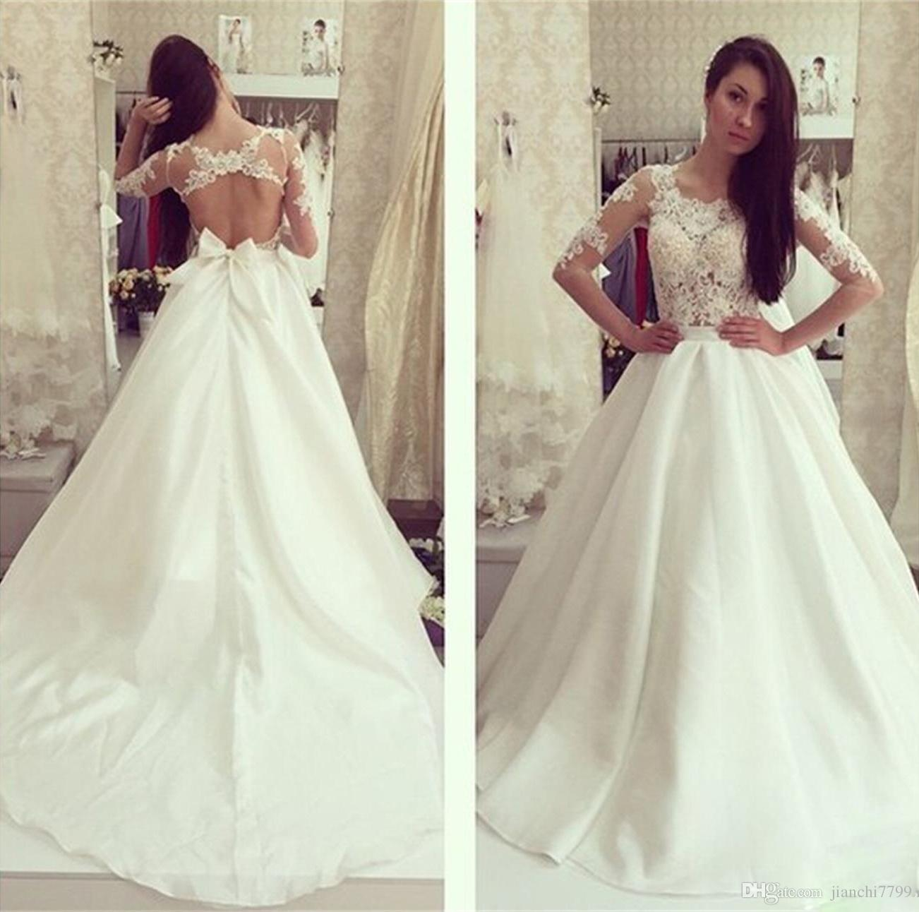 Discount Vintage Long Sleeves Wedding Dress With Lace Top Crystal ...