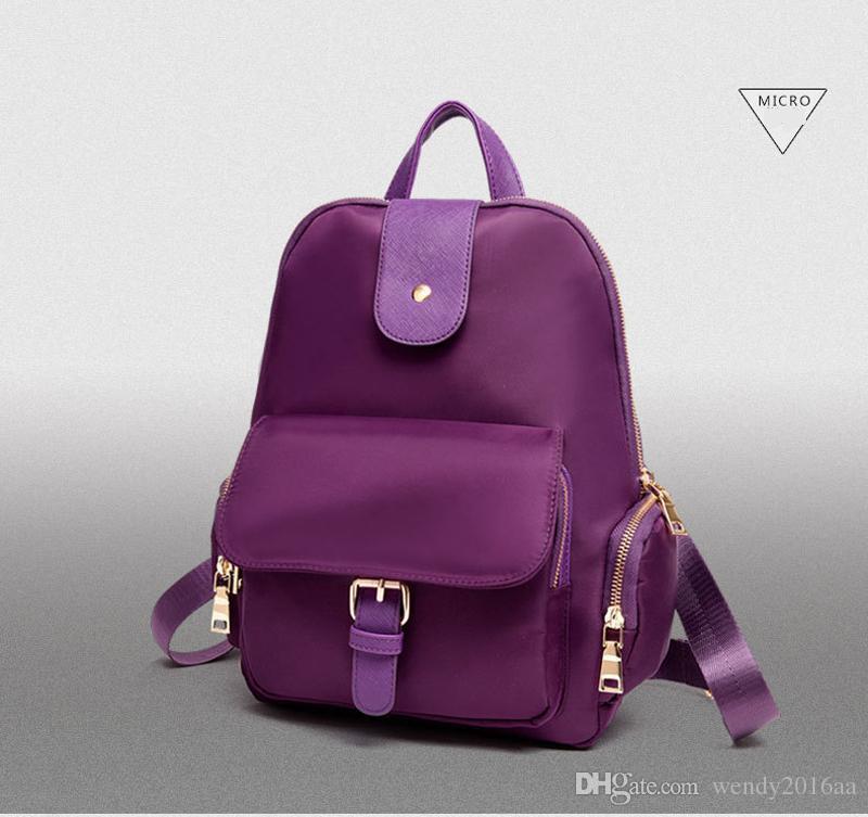 Hohe quanlity casual lila rucksack frauen nylon atmungsaktive abdeckung haspe und reißverschluss umhängetaschen reiseaufbewahrung taschen