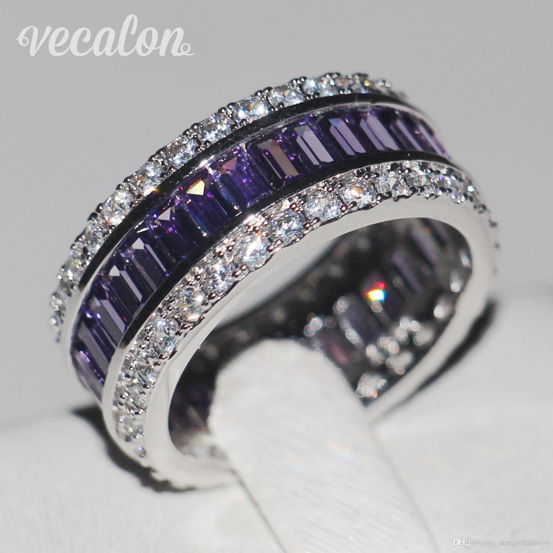 Vecalon mulheres moda jóias anel 15ct simulado diamante ametista cz 925 anel de noivado de prata esterlina banda de casamento para as mulheres