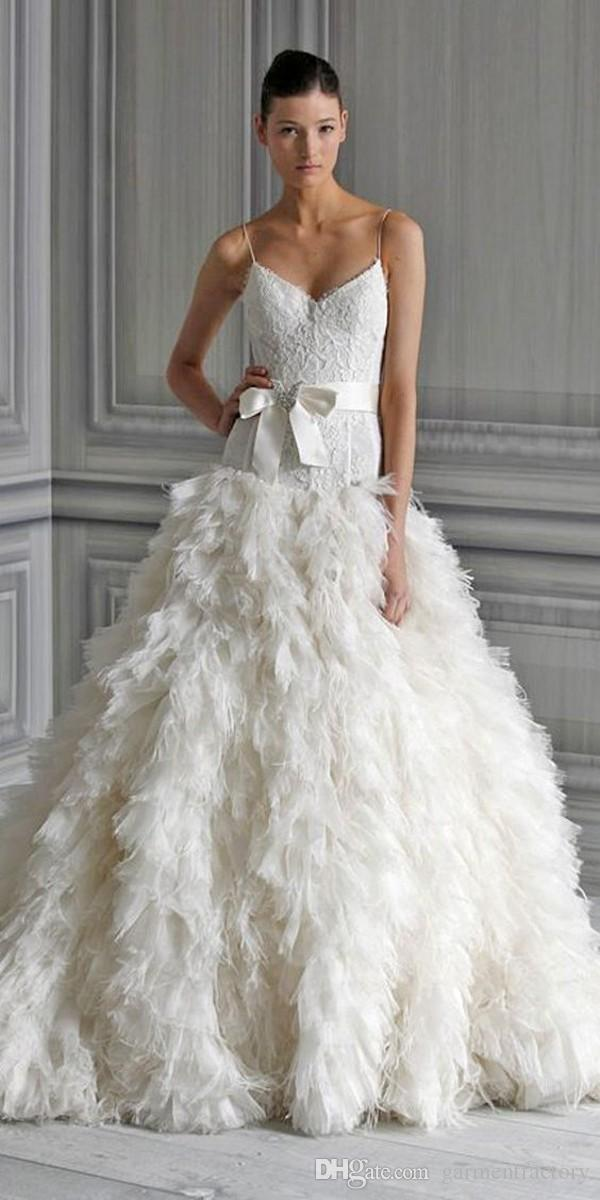 Discount Monique Lhuillier Feather Wedding Dresses Spaghetti Straps Lace Bodice Ruffles Feather Tiered Skirts Nobel Bridal Gowns With Bow Sash Long ...