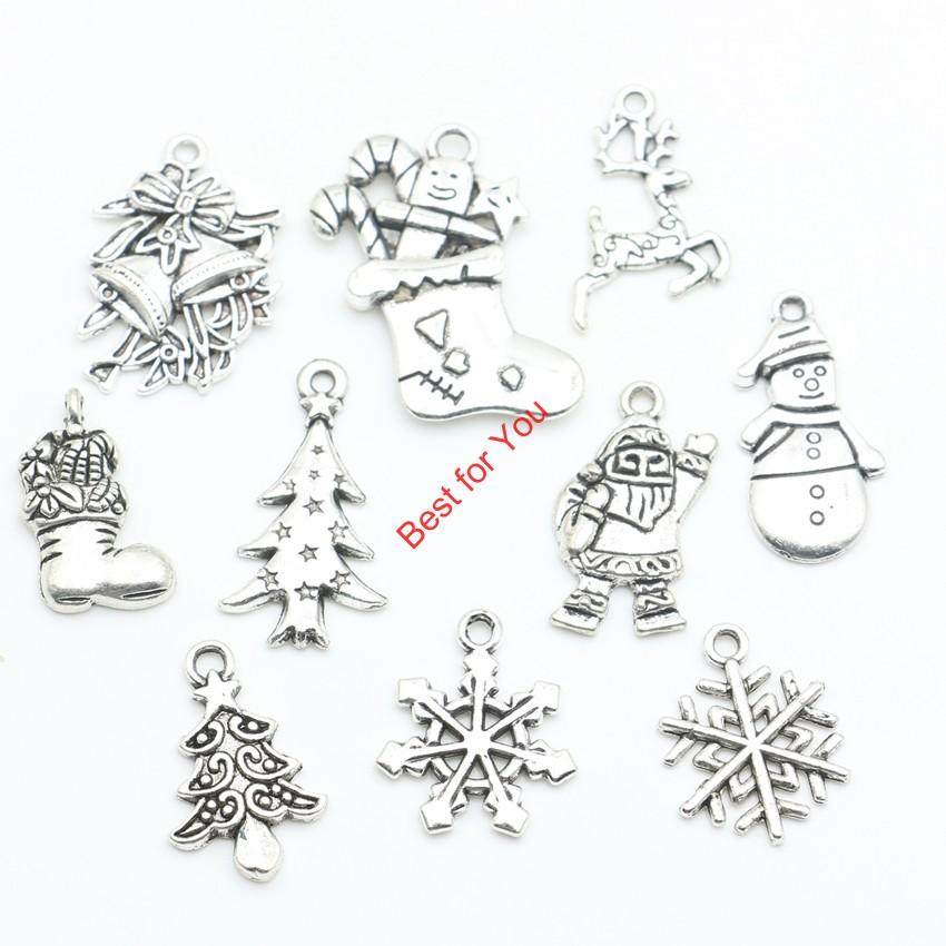 100pcs Mixed Tibetan Silver Plated Christmas Sets Theme Charm Pendants For Jewelry Making Handmade DIY jewelry making