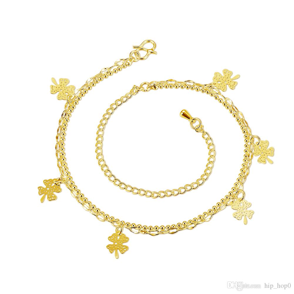 Fashion Beach Anklet Five Piece Four Leaf Clover Charms Ankets 24K Gold Plated Gold Jewelry Lady Accessories Girls' love Beauty Gift