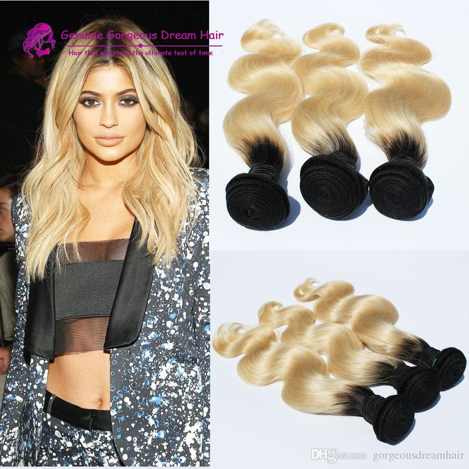 """Ombre human Hair Weft body wave 3Pcs Lots Peruvian human Hair 10""""-30"""" Color ombre 27 Blonde Human Hair bundles black to blonde"""