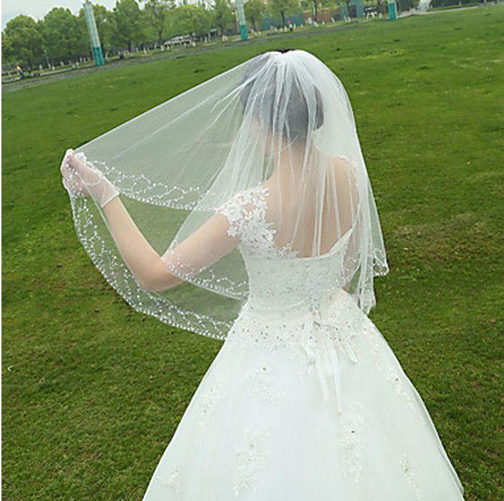 Новые высококачественные сексуальные удивительные TWP слой Romanticelebe из бисера кромки вуаль свадебные кусочки для свадебных платьев