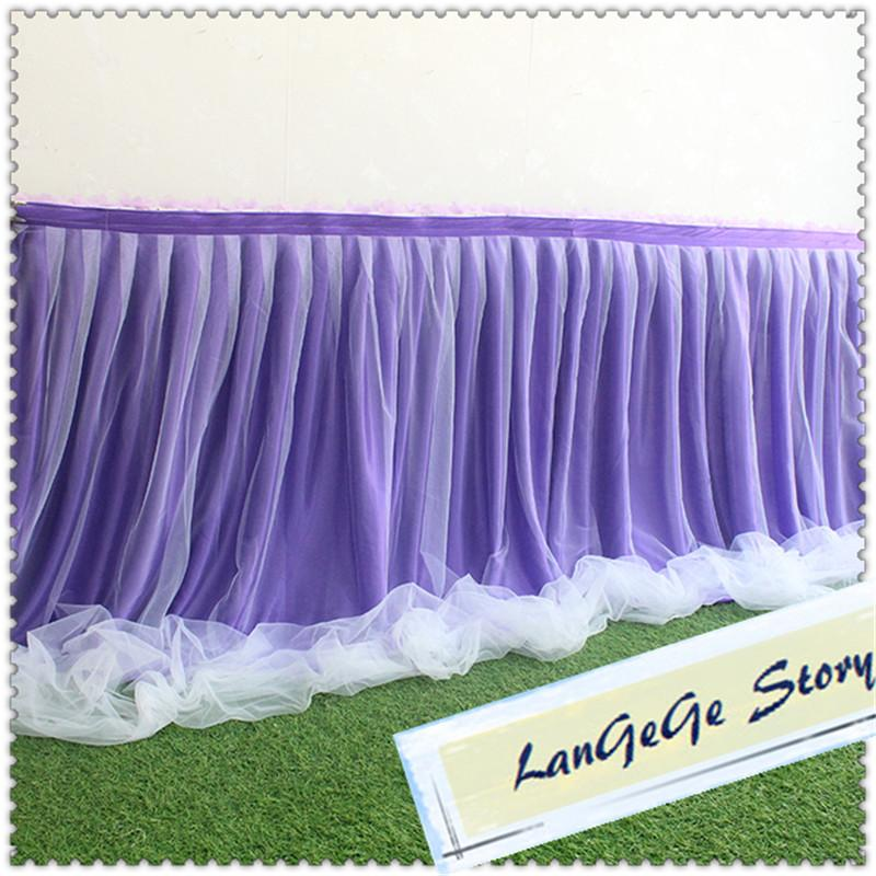 Free shipping Purple skirt with white mesh Yarn/Romantic Wedding Party Birthday Table Skirting Tableware 17ft Table Cloth