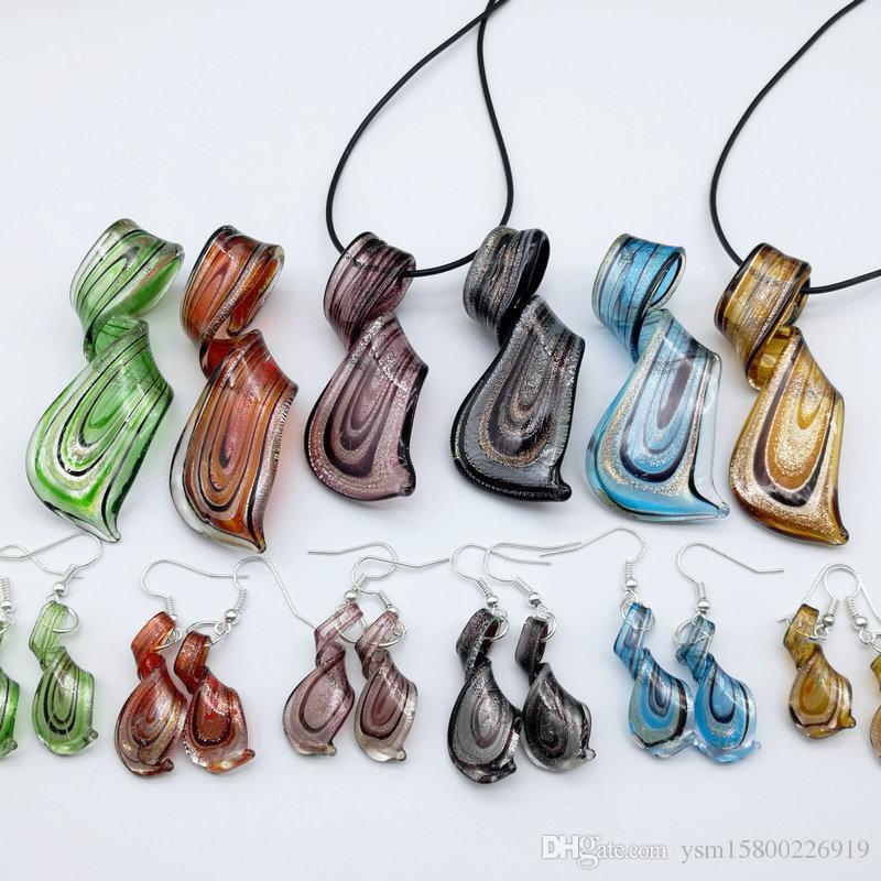 6sets تويست مزيج الألوان زجاج مورانو قلادة القرط مجموعة مجوهرات ، الأزياء والمجوهرات مجموعة ، مجموعة مجوهرات مورانو