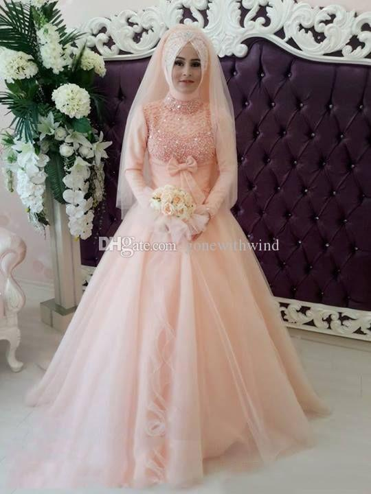 2016 Blush Pink Arabic Muslim Wedding Dresses With Hijab Empire ...