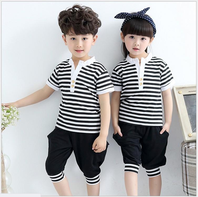 Boys Girls Summer Clothing Sets 2016 New Children 100% Cotton Short Sleeve Stripe T-shirt+Pants 2pcs Set Kids Sport Casual Suit Child Outfit