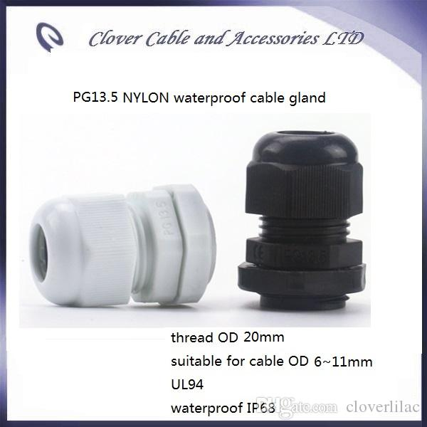 Venta caliente y envío gratis 100PCS / lot IP68 Cable impermeable Conector PG13.5 Glándula de cable de nylon