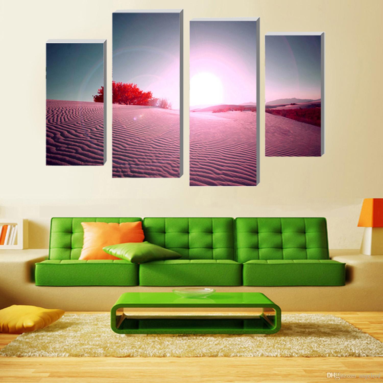 ... Pintura Modular Pintura Mural Red Desert Wall Art Picture Modern  Decoração Para Casa Impressão Em Tela ... Part 77