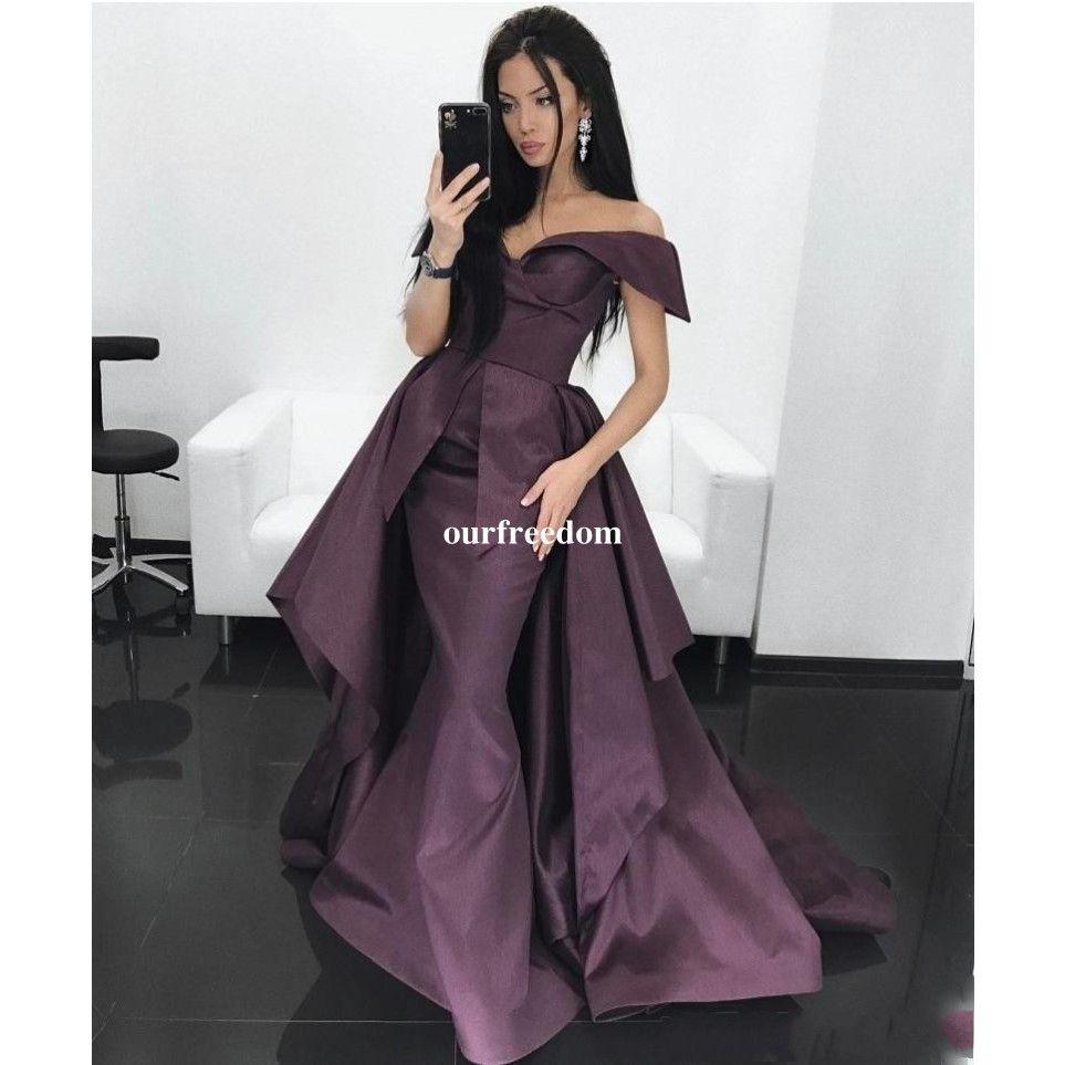 2019 Абая с открытыми плечами Вечерние платья из виноградной тафты со съемным шлейфом Вечерние платья из Саудовской Аравии Выпускное платье на заказ