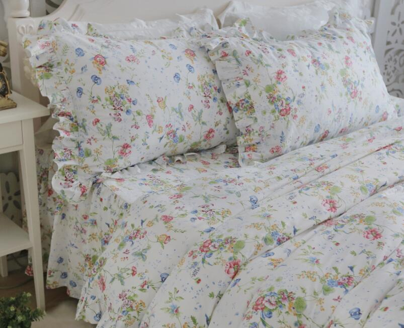korean princess Blue red and green plant flowers pure ruffles bedding sets 4pcs quilt cover pillowcase bed skirt style