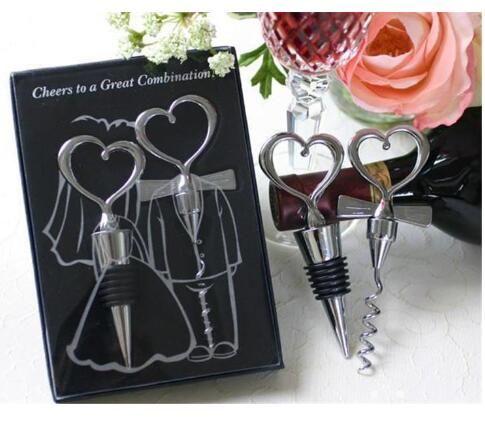 Ouvre-bouteille de vin en forme de coeur grande combinaison tire-bouchon et bouchon en forme de coeur ensembles cadeaux de mariage cadeaux 100sets = 200pcs DHL FEDEX FREE