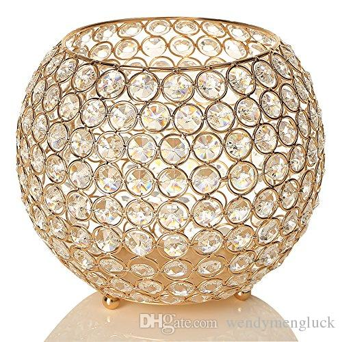 Crystal Bowl Candle Holders Gold Plated Candlestick Candle Lantern Candelabra Home Decoration Wedding Party Pencil Contanier