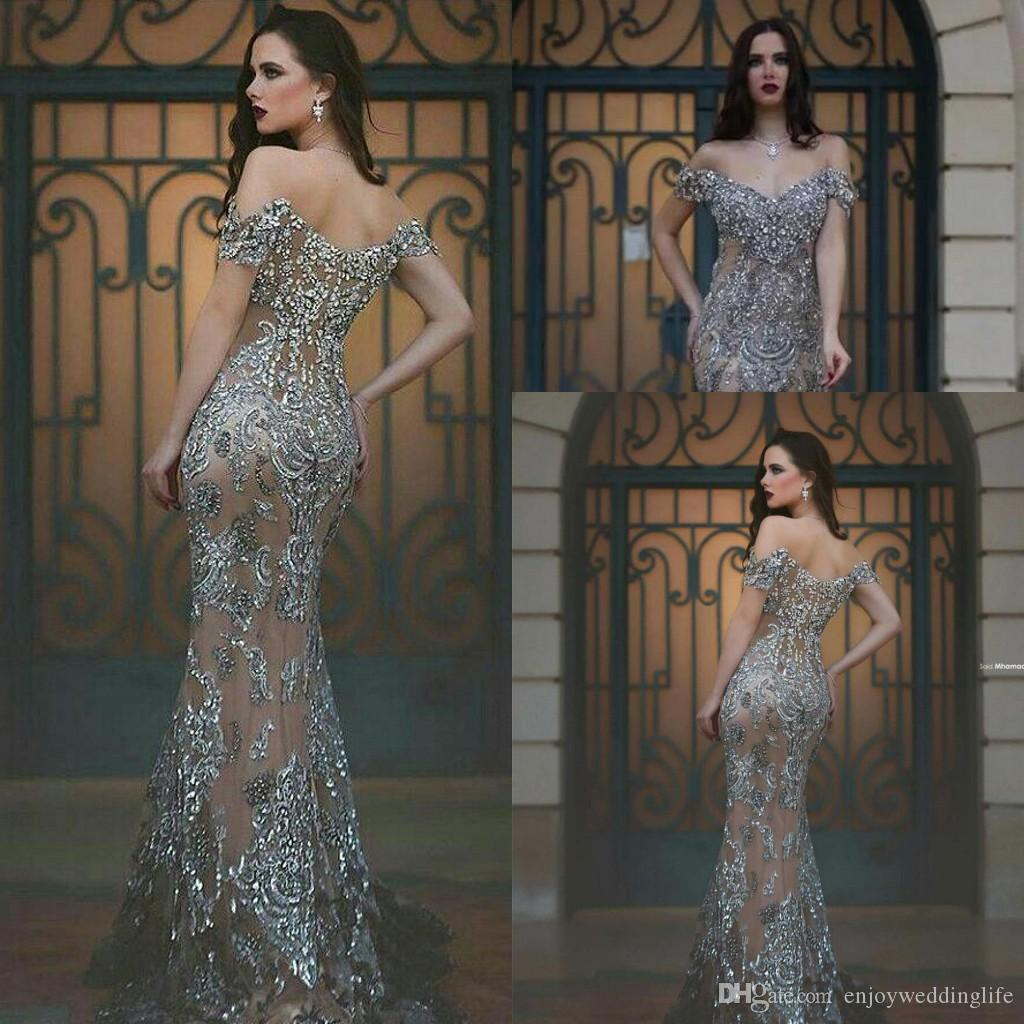 2021 GRIGIO GRANDE GRANDE BORNING OFF SPALLERS Abiti da sera formali Crystals Beaded Long Prom Gowns Arabo Vintage Pageant Gowns su misura