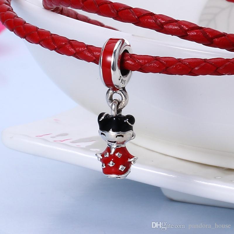 100% réel 925 Sterling Argent Charms Fille Chinoise Charms Perles Fit Pandora Bracelet Bracelet DIY Bijoux