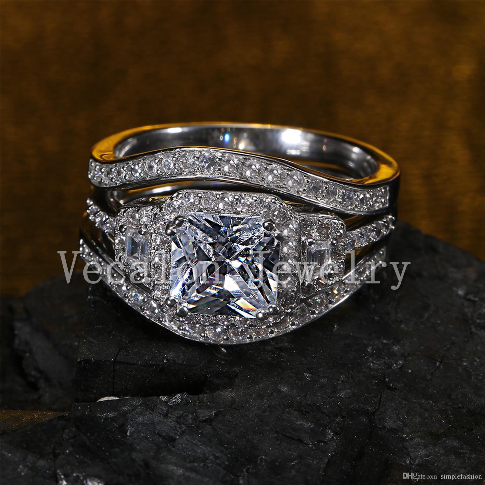 Vecalon 2016 Cushion Cut 3ct Simulated Diamond Cz 3in1 Engagement  Wedding Band